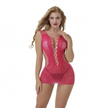 Rose Sexy Sleeveless Hollow-Out Bodysuit