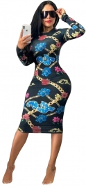 Blue O-neck Long Sleeve Women Bodycon Print Dress