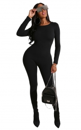 New Style O-neck Black Solid Women Long Sleeve Jumpsuits