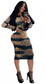 Hot Print Dress Front With Zipper Nightclub Dress Black Gold
