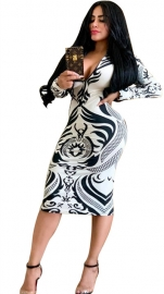 Hot Print Dress Front With Zipper Nightclub Dress White