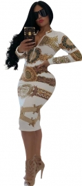 Hot Print Dress Front With Zipper Nightclub Dress White Gold
