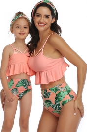Glowing Ruffled Top and Printed Bottom High Waist Swimwear Orange