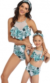Blue Floral Printed Bottom and Ruffled Top High Waist Swimwear Set