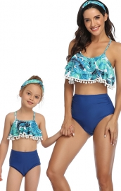 Blue Floral Printed Tassel Top Solid Bottom Two piece Swimwear