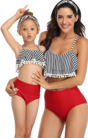 Striped White Tassel Top Red Solid Bottom Two Piece Swimsuit