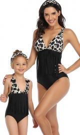 Top Floral Black Bottom Tassel Printed One Piece Swimsuit