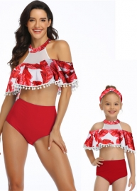 Red Floral Printed Flounce Tassel Top Solid Bottom High waist swimwear