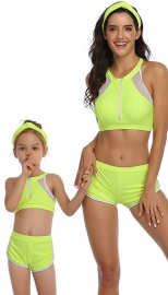 Fluorescent Green Front Zipper and Mesh White Trim Two Piece Swimsuit