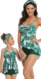 Multi-color V-neck Halter Strap  Print Matching Swimwear Green