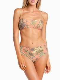 Orange Flower Print Two Piece Swimsuit with Removable Pads