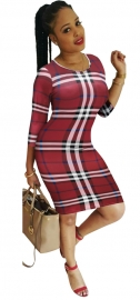 O-neck Long Sleeve Checkered Dress Sexy Women Bodycon Dress Red