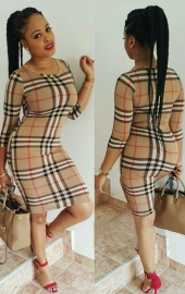 O-neck Long Sleeve Checkered Dress Sexy Women Bodycon Dress khaki