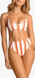 Striped Two Pieces High Waist Swimsuits Orange