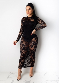 Black Caged Long Sleeve  Lace Bodycon Dress O-neck Bodysuit Dress