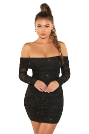 Black Off Shoulder Long Sleeve Sequin Bodycon Evening Dress