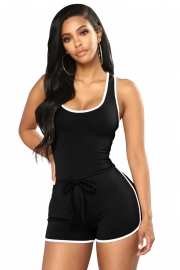 Black Sports Sleeveless U Neck Skinny Casual Romper