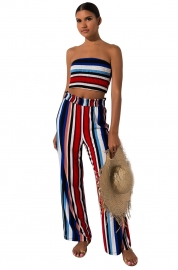 Women Sexy Suits Fashion  Stripe Vest Trousers Two-Piece Outfit