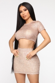 Women Sexy Apricot Sparkle Sequin Two-Piece Crop Top Skirt Set