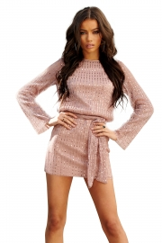Women Pink Sparkle Sequin Long Sleeve Belt Mini Dresses