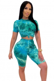 Sexy Women Blue Printed Tie Dye Crop Top Two-Pieces Set