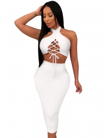 Women Sexy Halter Off Shoulder Sleeveless Two-Piece Set Evening Bodycon Dress