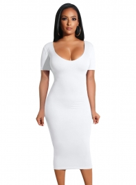 Women Sexy Fashion Short Sleeves Bodycon Midi Dress Party Dress Open Back