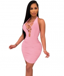 Women Sexy Lace-Up Hollow-Out Sleeveless Backless Bodycon Dress Mini Dress