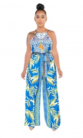 Blue Women Elegant Fashion Printed Back Hollow-Out Halter Neck Loose Sleeveless Jumpsuit Romper