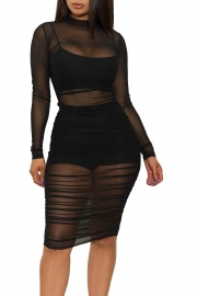 Women Sexy Long Sleeves Mesh Sheer Three-Piece Set Bodycon Dress Clubwear