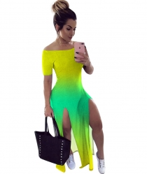 Sexy Women Fashion Off Shoulder Double Split Maxi Dress Gradient Ramp Dress