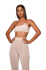 Sexy Women One Shoulder Two-Piece Set Crop Top Split Hem Legging Pants