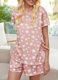 Women Casual Stars Printed Tie-Dye Two-Piece Set Pajamas Sets Sleepwear
