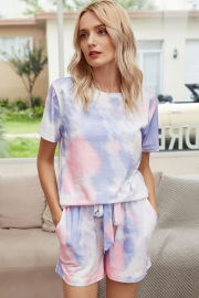 Women Casual Tie-Dye Short Sleeves Two-Piece Set Pajamas Sets Sleepwear