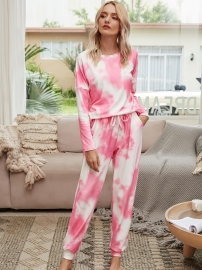 Women Casual Tie-Dye Two-Piece Set Pajamas Tops and Long Pants Sleepwear Loungewear
