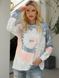 Women Casual Tie-Dye Gradient O-Neck Long Sleeves Hoodie T-Shirts