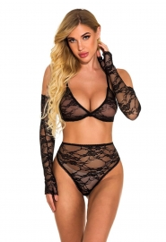 Women Sexy Lingerie See-Through Lace Mesh Chemise Set Babydoll