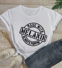 Women Casual Letter Printed T-Shirts Letters MELANIN