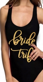 Fashion Sexy Letter Printed One-Piece Swimsuit Swimwear BRIDE/ BRIDE TRIBE