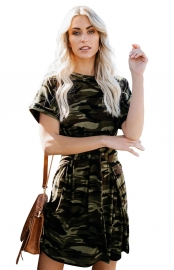 Women Round Neck Camouflage Printed Tie Waist Mini Dress