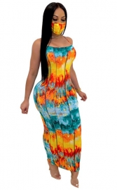 Women Printed Sleeveless Spaghetti Strap Cross Back Strap Maxi Dress (without Mask)