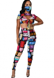 Women Printed Twist Front Crop Top with Chest Cutout and Pants Set(without Mask)