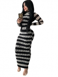 Women Striped Turtleneck Maxi Dress