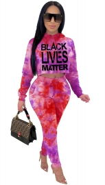 2-Pieces Long Sleeve Tie-Dye Hoody Sets with Letters