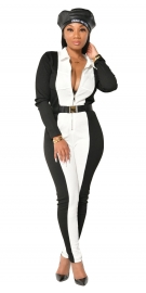 Long Sleeve High Waist Mixed Color Tight Fitting Jumpsuit (No Belt)