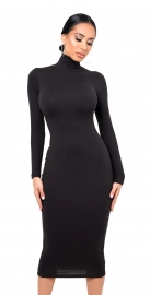 Pleated Turtle-neck Tight-fitting Bodycon Dress