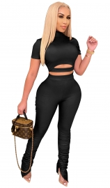 Women Solid Color Stacked Sportwear 2-pieces Leisure Suit