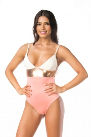 Halterneck Mixed Color Backless One-piece Swimsuit