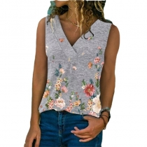 Women's Plus Size Flower Cami Top V Neck Sleeveless Tunic Tank Casual Floral Print Blouse