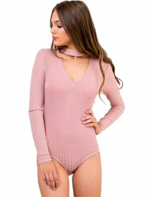 Hot New Arrival Autumn Women Long Sleeves With V-Neck Halterneck Jumpsuit Pink